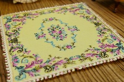 """6"""" Beautiful Dollhouse Miniature Floral Lace Colorful Light Yellow Rug"""