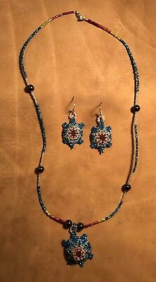 Awesome Native American Lakota Sioux Beaded Necklace And Earring Set