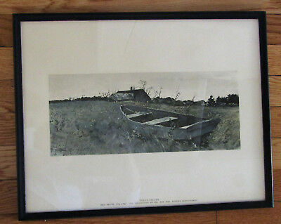 Vintage Art Andrew Wyeth Under Sail 1982 Sailboat Flowers Floral Waters Edge