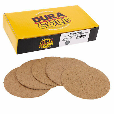 "40 Grit 3"" Gold Hook & Loop Sanding Discs DA Sanders - Box of 20 Sandpaper"