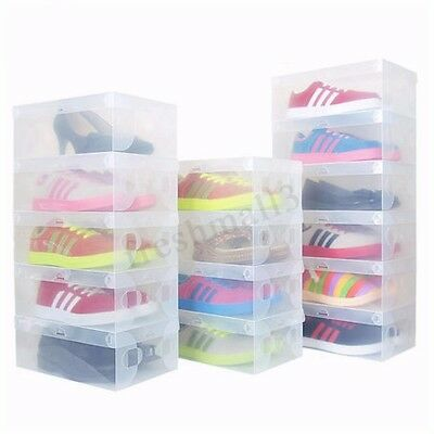 1-50 Pcs Home Plastic Clear Shoe Boot Box Stackable Foldable Storage