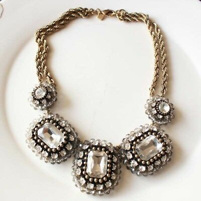 New Banana Republic Crystal Statement Necklace Gift Vintage Lady Party Jewelry