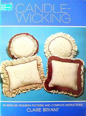 Dover Needlework Series Book CANDLE-WICKING 24 iron-on transfers & instructions