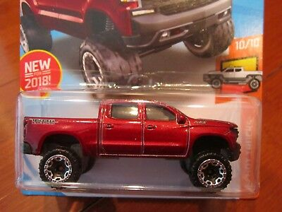 Hot Wheels 19 Chevy Silverado Trail Boss Lt Lifted Chassis Red 2018 New Models