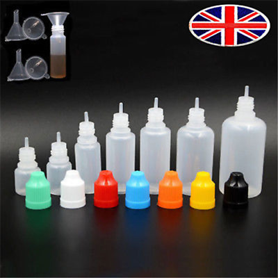 LDPE Dropper juice Bottles Plastic Squeezable Eye Liquid Container + Funnel