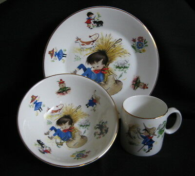 ARKLOW Republic of Ireland Nursery Rhyme Childs 3 pc China Set Plate Bowl Cup
