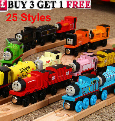 The Tank Engine Tender Wooden Magnetic Railway Train Toys Chrimas Gift 01-25