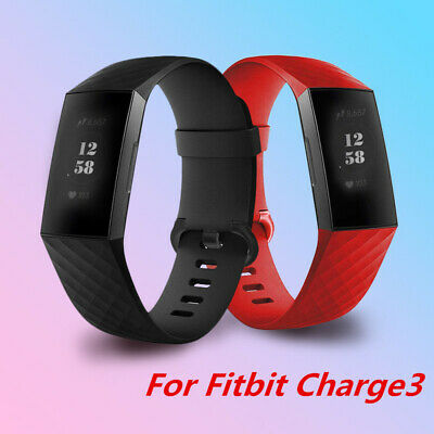 S/L For Fitbit Charge 3 Replacement Silicone Diamond Pattern Band Bracelet Strap
