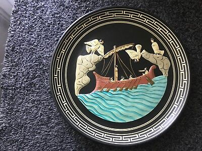 Vint, Studio Pottery Plate , Nimos Potery, Ancient Greek Odysseus and Sirens