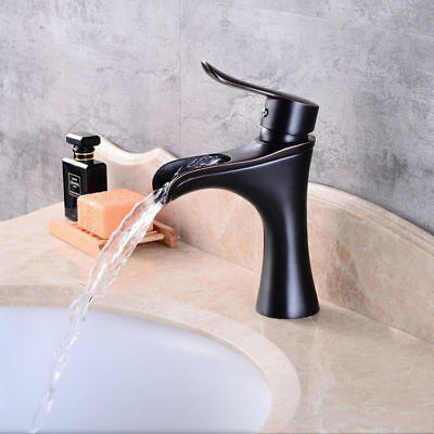 Single Handle Lever Antique Black Bathroom Sink Tap Waterfall Faucet Solid Brass