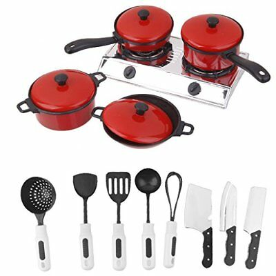 Child Play House Toy Cooking Food Kitchen Utensils Pans Pots Dishes Cookware Set