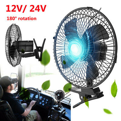 6'' Portable Vehicle Auto Car Fan 2 Speed Airflow Rotatable Cooling Clip-On 12V