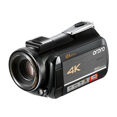Ordro 4K UHD Videocamera Digitale Touch Screen LCD Display 12X Camcorder 24MP