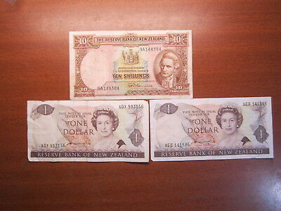 New Zealand Ten Shilling Fleming Banknote x1 $1.00 x2  Hardie Banknotes