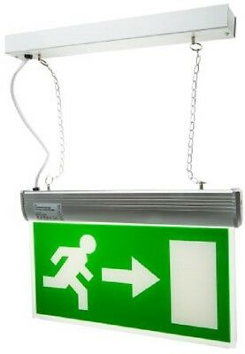 RS Pro EMRLED/S/LR/W LED Emergency Exit Sign, 3h Maintained, Right and Left Arro