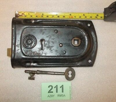 Antique Brass And Steel Rim Door Lock With Key 211