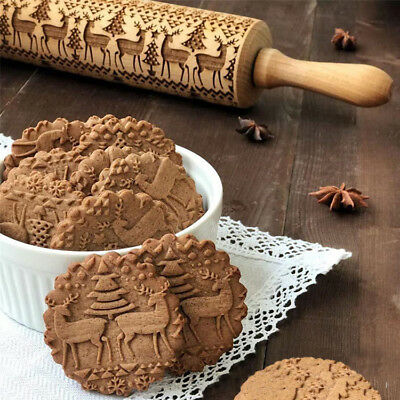 3D Christmas Embossing Wooden Rolling Pin Baking Cookies Tool Dough Roller 43cm