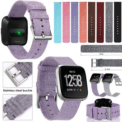 For Fitbit Versa Woven Fabric Canvas Wrist Strap Watch Band Stainless Buckle CHZ