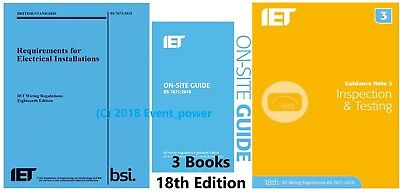 18th BS 7671 OSG & GN3 3 Books REGS On Site Guide Testing IET Regulations