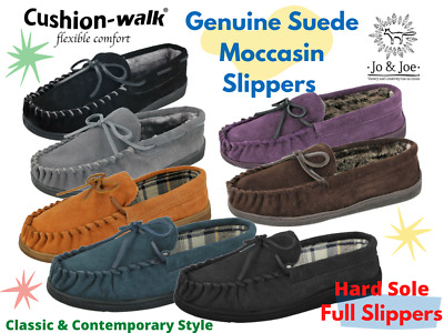 Mens Cushion Walk Real Leather Suede Hard Sole Tartan Lined Moccasin Slippers