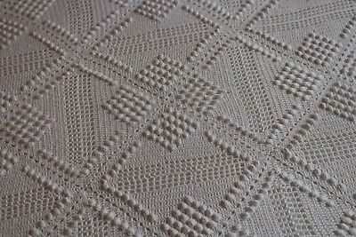 Vintage Cotton Hand Crocheted Bed Coverlet w Fringe 96x104