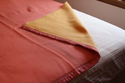 Vintage Wool Bed Blanket 70x74 Yellow one side Pink other side