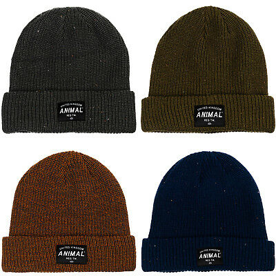 Animal Mens Allex Knitted Winter Warm Roll Up Woolly Chunky Knit Beanie Hat 59702efb56ff