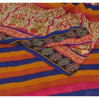 Sanskriti Vintage Multi Color Saree 100% Pure Georgette Silk Printed Sari Craft