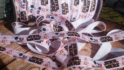 1m FOE Star Wars BB8 Pale Pink Fold Over Elastic FREE POST Craft Party