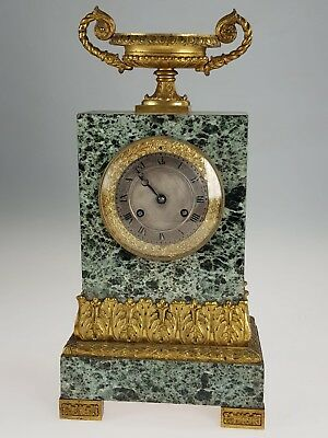 French Pons 1823 silk suspension sienna marble & bronze striking mantel clock