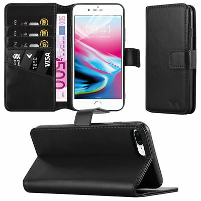Apple iPhone XS 8 7 Plus X Real Leather Case Flip Folio Wallet Card Slots Cover