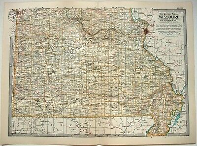Original 1902 Map of Southern Missouri by The Century Company
