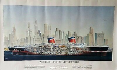 1952 S.S. UNITED STATES Cutaway Print by Rolf Klep  - NAUTIQUES sHiPs WORLDWIDE