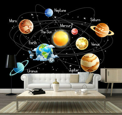 Space Stars Planets Solar System Earth Wallpaper Mural Photo Children Kid Poster