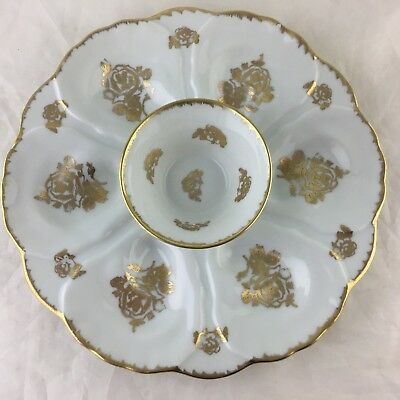 Vintage Oyster Plate White Gold Rose Flowers France Made Hand Painted