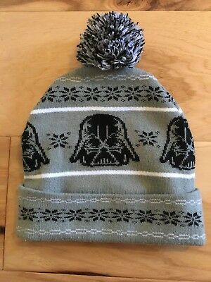 Star Wars Darth Vader Gray Black White Lined Acrylic Beanie Hat One size 779587476ada