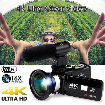 Professional 4K 1080P WiFi Digital Video Camera Camcorder Recorder DVR+Mic +Lens