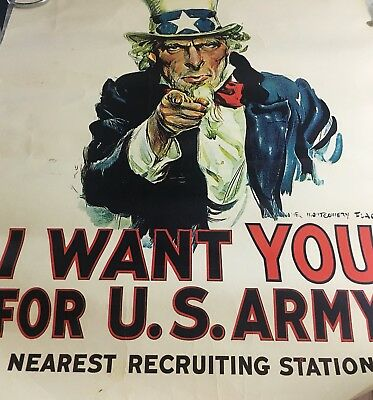 """Vintage Uncle Sam """"I Want You For The US Army""""Recruiting Poster 1960's-70's"""