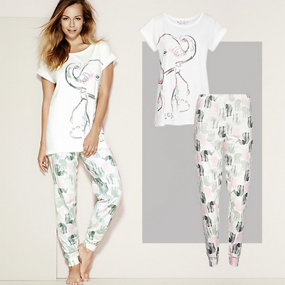 Ladies Pyjamas - Nellie Elephant Pyjama Sets - Available in Plus Sizes: 14 - 24