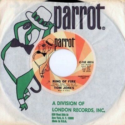 """This Is TOM JONES RAREST US 45! """"RING OF FIRE / 16 TONS"""" MINT Parrot PROMO ONLY!"""