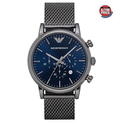 New Emporio Armani AR1979 Blue Dial Luigi Mesh Starp Men's Chronograph Watch
