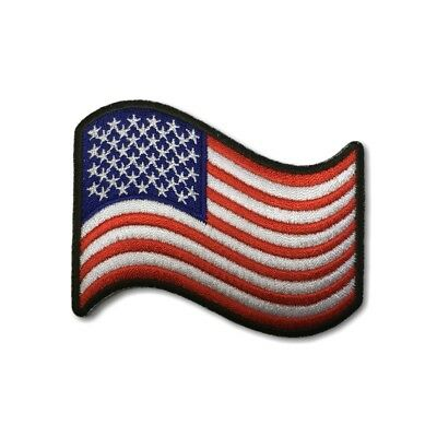 """Embroidered 3"""" Waving American US Flag Sew or Iron on Patch Biker Patch"""