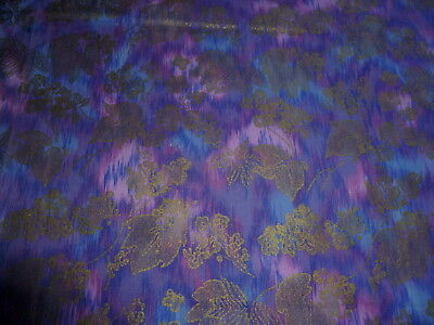Vintage Cotton Fabric Pink Purple Blue Smear Abstract Gold Metallic Floral 1 Y34