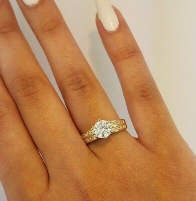 2 CT Round Cut Diamond Engagement Wedding Ring 14k Solid Yellow Gold Channel Set