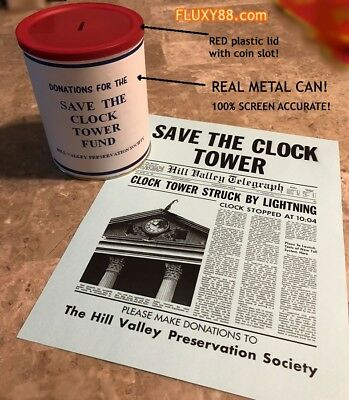 Back to the Future - Save the Clock Tower Can Prop and flyer