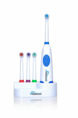 Wellness Battery Powered Oscillating Electric Toothbrush with 4 Heads and Base