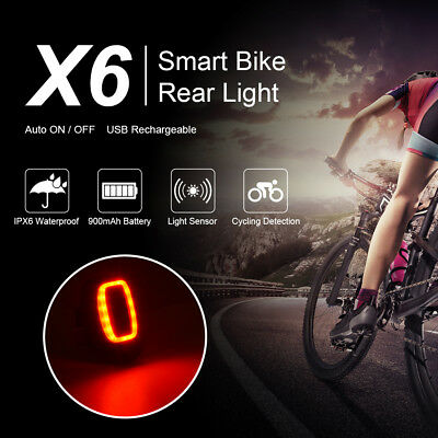 X6 Bicycle Bike Tail Rear Light Waterproof Smart Cycling Safety Red Lamp CS637