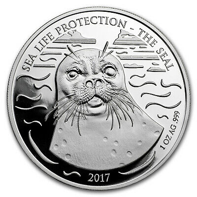2017 Republic of Ghana 1 oz Silver Sea Life Protection (Seal) - SKU#177496