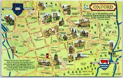 1968 OXFORD UNIVERSITY England UK Postcard Campus / Street Map w/ Cancel