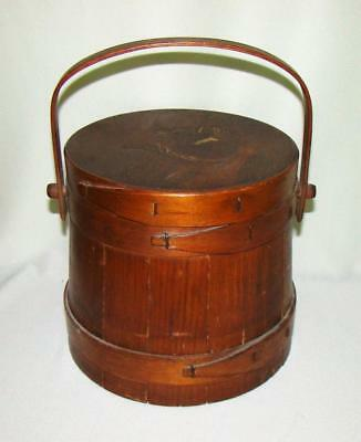 Antique Handled Lidded Wooden Firkin Bucket W/incised Painted Squirrel Decor